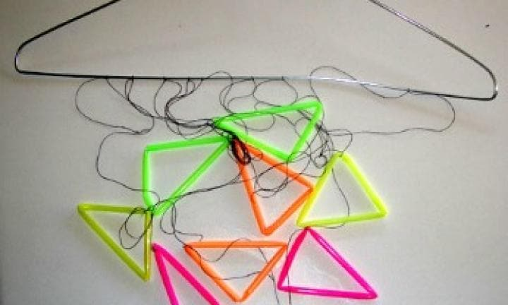 Triangle straw mobile