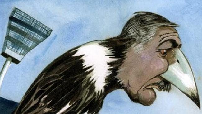 Some of his happiest days were at Collingwood, as this Eric Lobbecke cartoon perfectly depicts