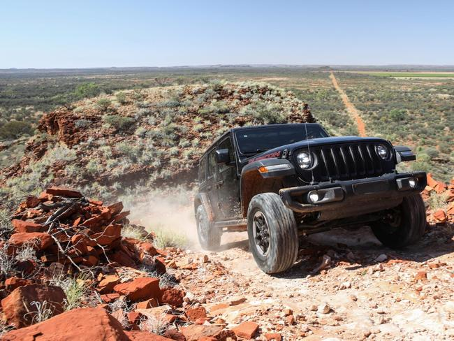 Jeep tackles an outback climb.