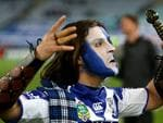 Bulldogs fan during the NRL game between the Canterbury Bankstown Bulldogs and the South Sydney Rabbitohs at ANZ Stadium. Picture Gregg Porteous