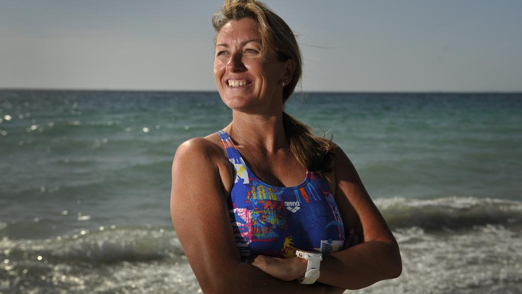 No limit: Jodie Carlyon will do her first solo swim to Rottnest less than a year after a double mastectomy. Picture: Justin Benson-Cooper