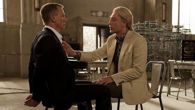 Daniel Craig (left) and Javier Bardem in Skyfall is a case of psychopath versus psychopath. Picture: Supplied