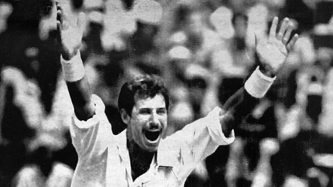 Richard Hadlee breaks the record for most wickets in New Zealand's Test with India in 1988.