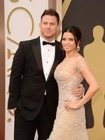 Actors Channing Tatum and Jenna Dewan-Tatum in a Reem Acra dress on the red carpet at the Oscars 2014. Picture: Getty