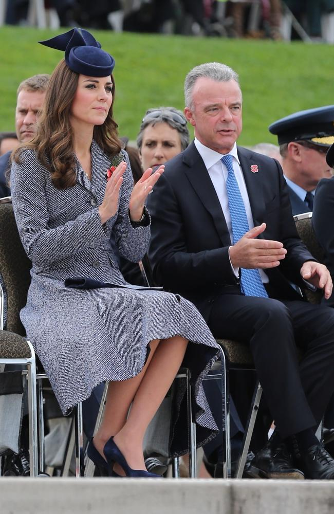 The Duchess of Cambridge and the Australian War Memorial Director Dr Brendan Nelson at the Anzac Day National ceremony in Canberra today.
