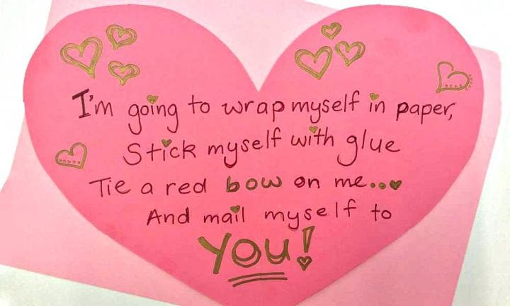 Cute Valentine's Day poem: Wrap myself in paper