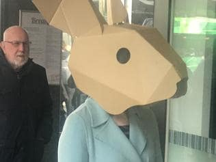 The rabbit heads are part of an art project.