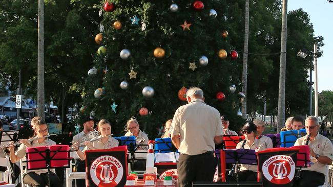 "Cairns Regional Council Town band play at the start of ""Carols in the City"" which will be held each Wednesday until December 14. PICTURE: JUSTIN BRIERTY"