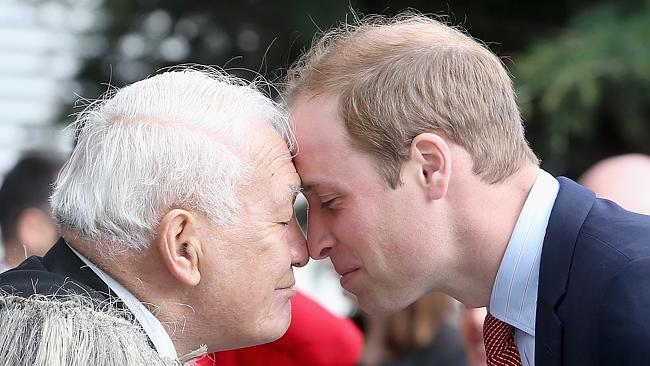 Welcome ... Prince William, Duke of Cambridge performs the traditional Maori greeting of the 'Hongi' as he visits Christchurch. Picture: Chris Jackson