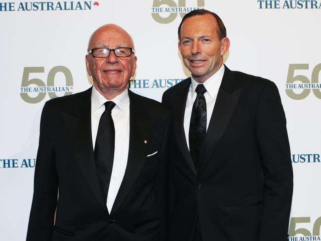 Night of celebration ... Rupert Murdoch and Prime Minister Tony Abbott.