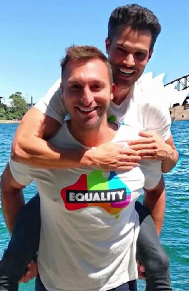 Ian Thorpe with is partner Ryan Channing.