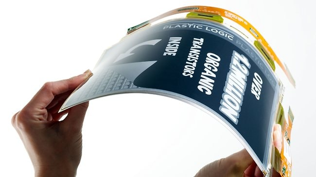"""Flexible """"electronic paper"""" is tipped to replace computers within five years. Picture: Supplied."""