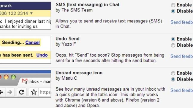 The option to undo sent messages is found in the settings.