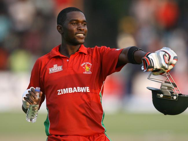 Zimbabwe captain Elton Chigumbura celebrates the most unlikely of victories against Australia on Sunday.