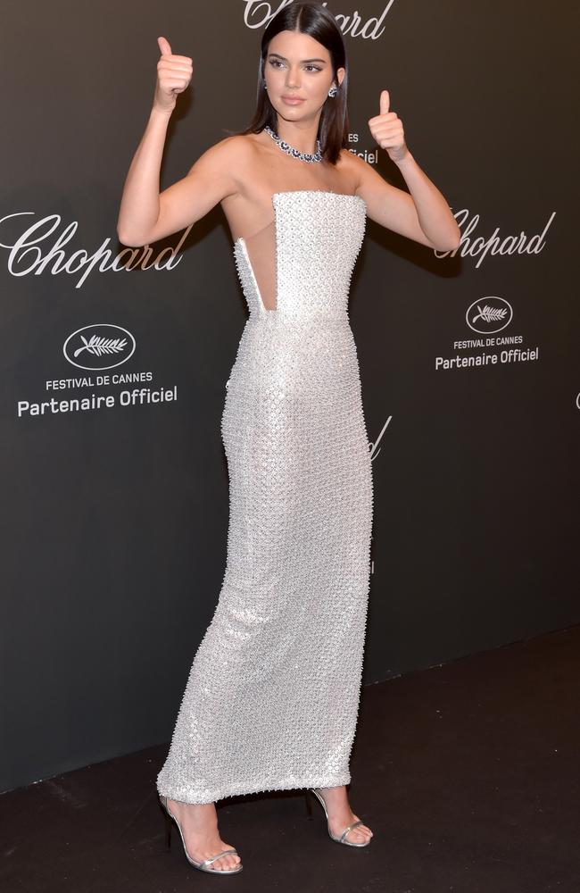 Kendall Jenner opted for a bedazzled gown for the Chopard event. Picture: Pascal Le Segretain