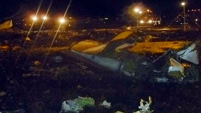The crash site of a Boeing 737 airplane at the airport of Kazan, western Tatarstan. Picture: Russia's Emergency Ministry