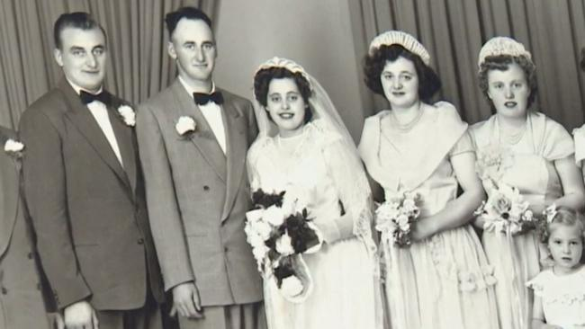 Mrs Grams on her wedding day in 1952, a year after she was given the ring.