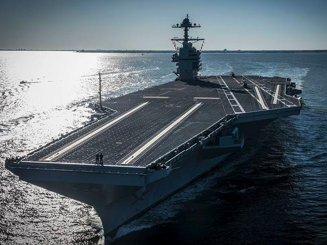 The US Navy aircraft carrier USS Gerald R. Ford (CVN-78) underway on its own power for the first time. Source: US NAVY