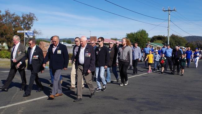 The march to the Triabunna Cenotaph for the Spring Bay Anzac Day service last year.