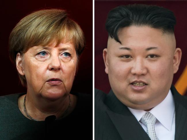 German Chancellor Angela Merkel and North Korean leader Kim Jong-Un. Picture: AFP