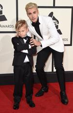 Jaxon Bieber and Justin Bieber attend The 58th GRAMMY Awards at Staples Center on February 15, 2016 in Los Angeles. Picture: AP