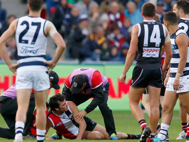 There were scary scenes as Dylan Roberton collapsed.