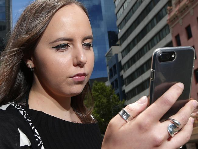 2/3 of Aussies lock their phones because they're worried about everything from their spouse finding out about infidelity to have their nude selfies discovered or being a victim of an embarrassing Facebook jacking. Maddison Bates-Willis 23 of Glebe. Pictured in North Sydney. Photo: Adam Ward