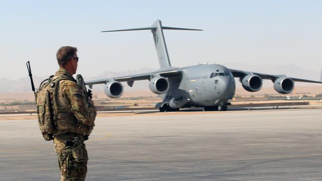 Long road to the end ... the Royal Australian Air Force C-17 Aircraft operating in Afghanistan. Picture: Gary Ramage