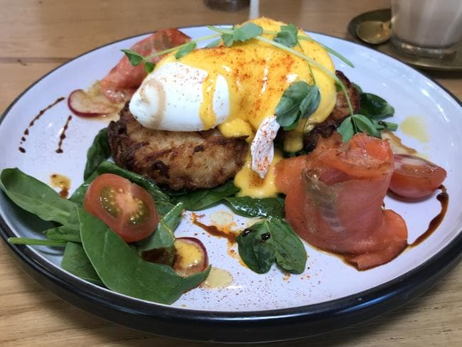 The eggs benedict dish at the Little Giant Roasters. Picture: Jenifer Jagielski