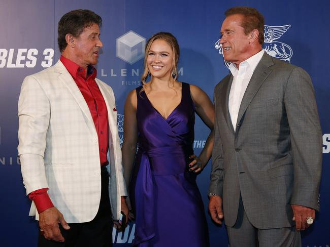 """Expendables 3"" stars Sylvester Stallone, Ronda Rousey and Arnold Schwarzenegger."