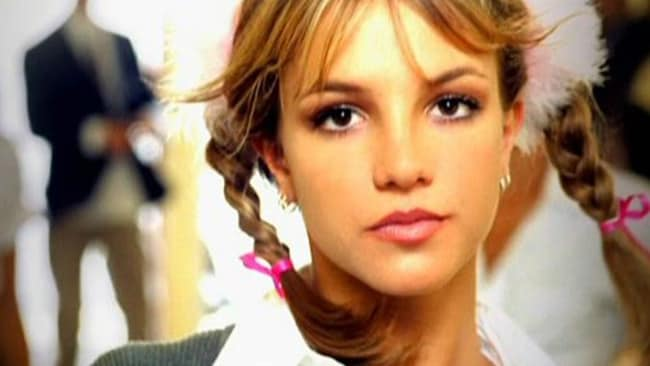 Britney Spears in her music video for Baby one more time.
