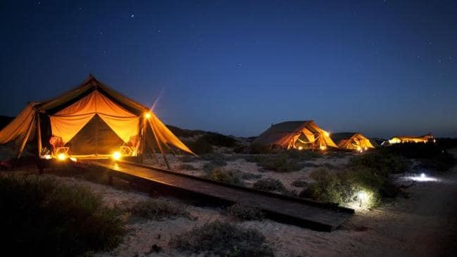 Sal Salis beachside safari camp at Ningaloo Reef allows guests to cut out the noise of phones and internet. Picture: Supplied.