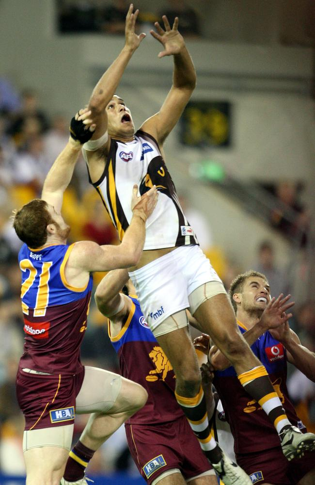 Lance Franklin soars above the Brisbane defenders in 2008.