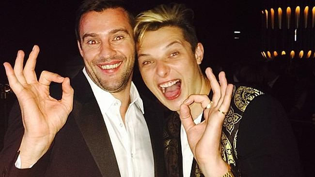 "Model Kris Smith pictured with singer John Newman posts, ""Great catching up with this legend in the making, what's even more amazing is how humble the young fellow is. #johnnewman #tvweeklogies #lovemeagain"" Picture: Instagram"