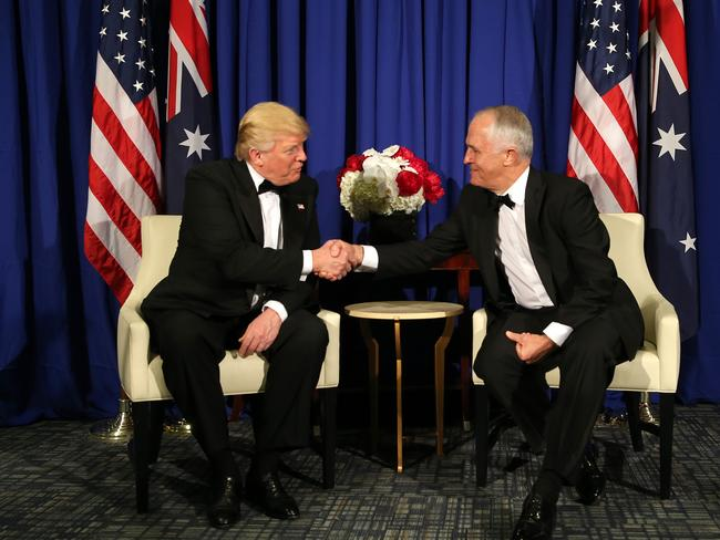 The visit between Trump and Turnbull in New York. Picture: Nathan Edwards