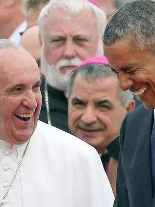 Close confidants ... Pope Francis has endeared himself to the US Commander in Chief. Picture: Supplied