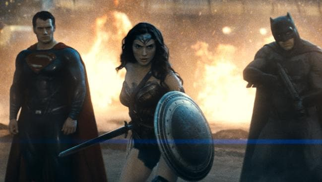 Batman Vs Superman stars Henry Cavill, Gal Gadot and Ben Affleck are ready for action. Picture: Supplied
