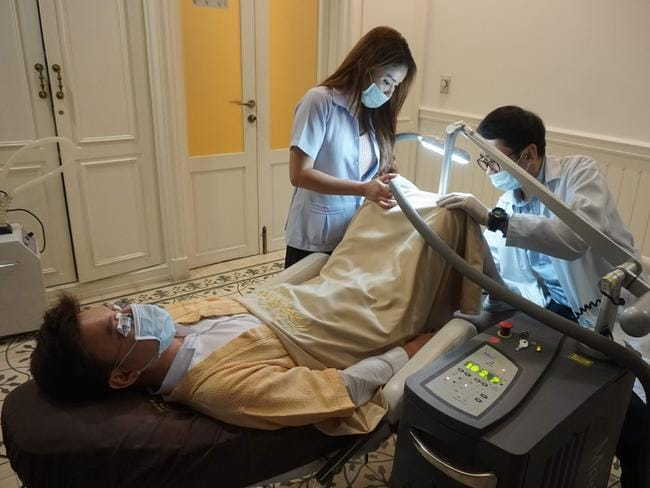 A man undergoing a penis whitening procedure at the Bangkok branch of Lelux Hospital. Picture: AFP.