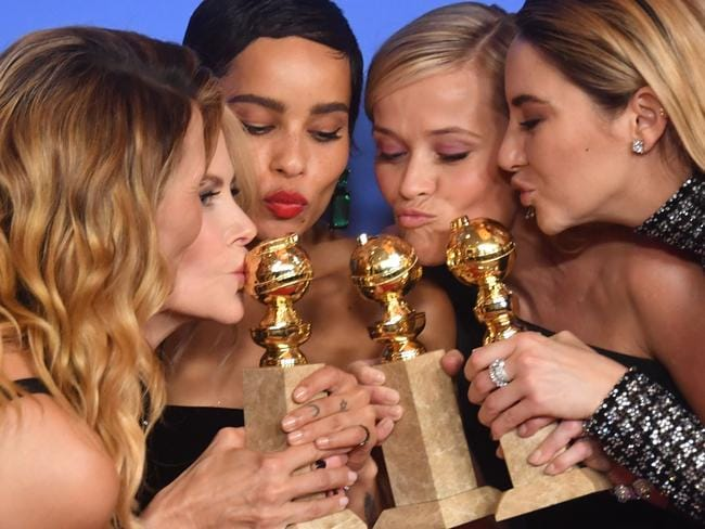 Laura Dern, Nicole Kidman, Zoe Kravitz, Reese Witherspoon and Shailene Woodley pose with the Best Television Limited Series or Motion Picture Made for Television trophy for 'Big Little Lies'. Picture: AFP PHOTO / Frederic J. BROWN.
