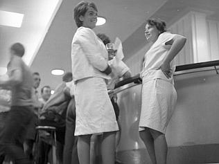 Chained to the footrail in the public bar of the Regatta Hotel, Toowong are Mrs Rosalie B