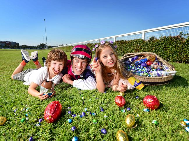 Good friday easter weekend 2018 melbourne guide events whats celebrate easter at caulfield with the annual easter egg hunt hugo 5 jockey chris symons and charli 7 with easter eggs picture nicki connolly negle Gallery