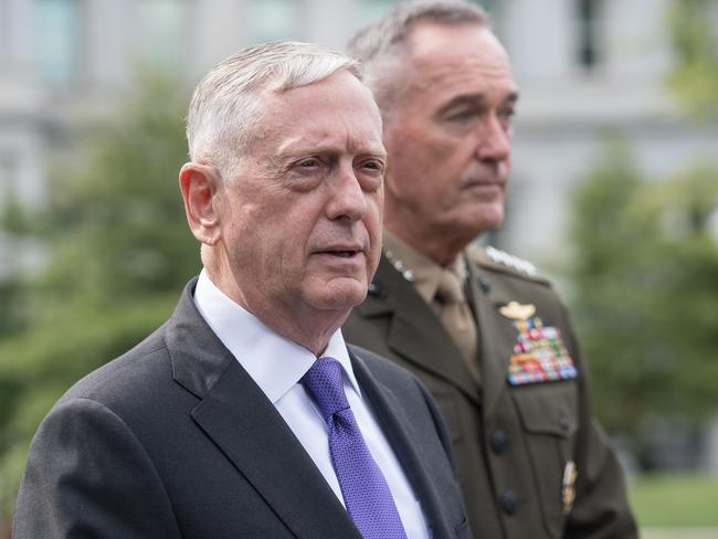 US Defence Secretary James Mattis (L) and General Joseph Dunford, chairman of the Joint Chiefs of Staff, arrive to speak to the press about the situation in North Korea at the White House in Washington, DC. Picture: AFP