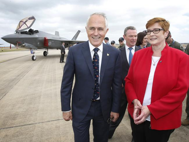Signed. Sealed. Delivered? Prime Minister Malcolm Turnbull and Defence Minister Marise Payne after inspecting Australia's new F-35 on the tarmac at Avalon earlier this year. Picture: David Caird
