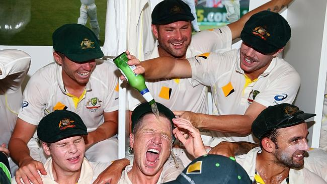 Ryan Harris and his Australian teammates got straight on the beers after wrapping up the Ashes series against England.