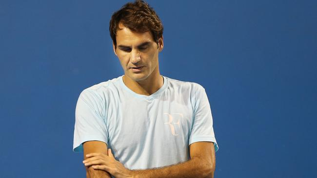 Roger Federer cut his schedule practice session short. Picture: Annette Dew