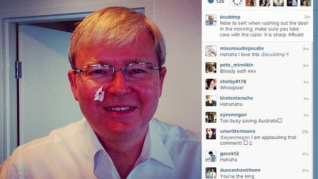 A lover of the selfie ... Former Prime Minister Kevin Rudd.