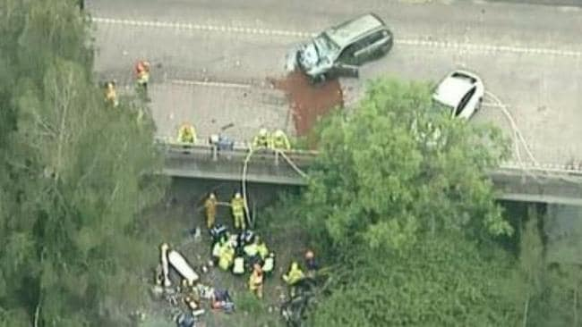 Emergency services at the scene of the crash. Picture: Twitter/Channel 9