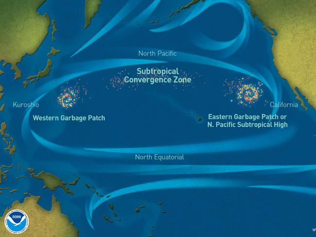 An illustration of the Great Pacific Garbage Patch. Picture: NOAA