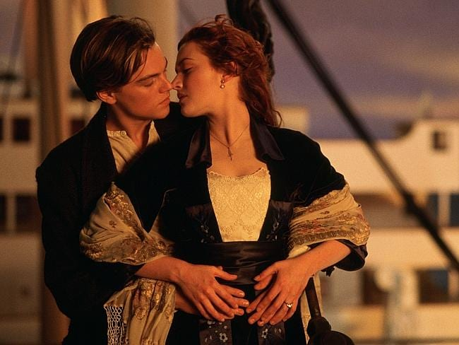 Leonardo DiCaprio and Kate Winslet in a scene from 1997 film, Titanic.