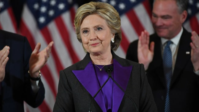 Hillary Clinton delivering her concession speech after losing the 2016 US Presidential election to Donald Trump Photo: Getty